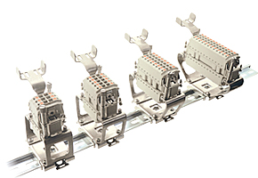 Heavy duty connectors--insert rail mounting element